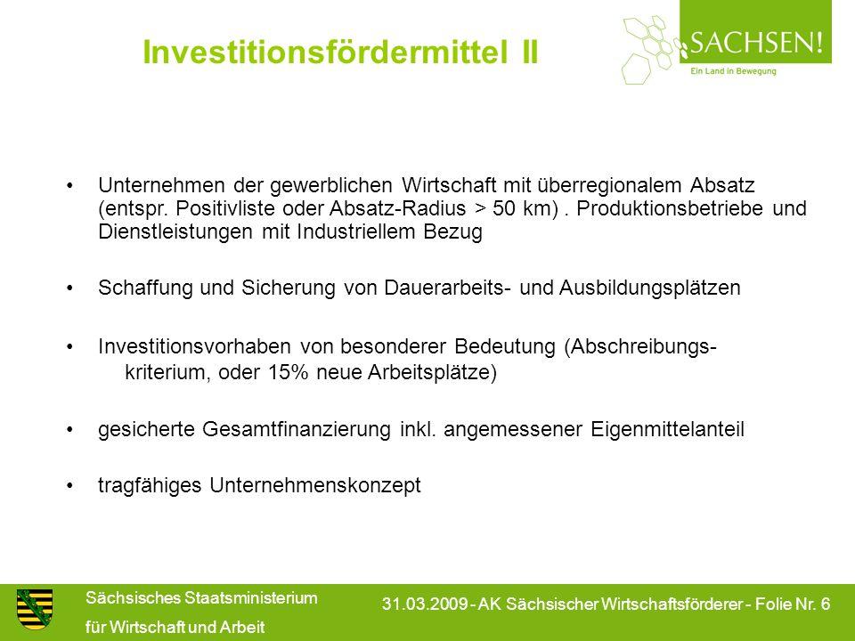 Investitionsfördermittel II