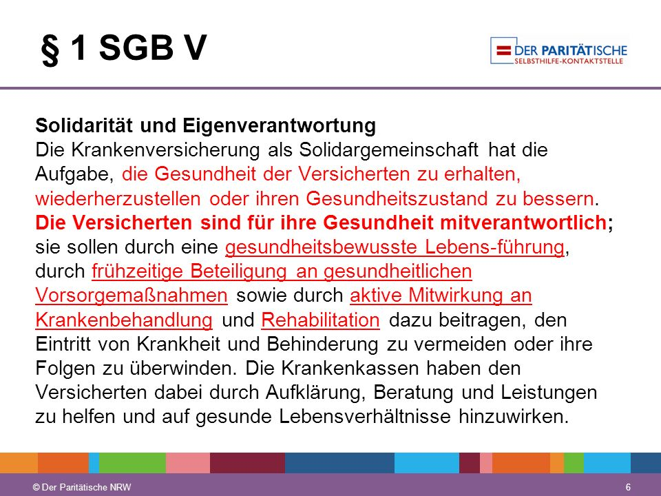 § 1 SGB V Solidarität und Eigenverantwortung.