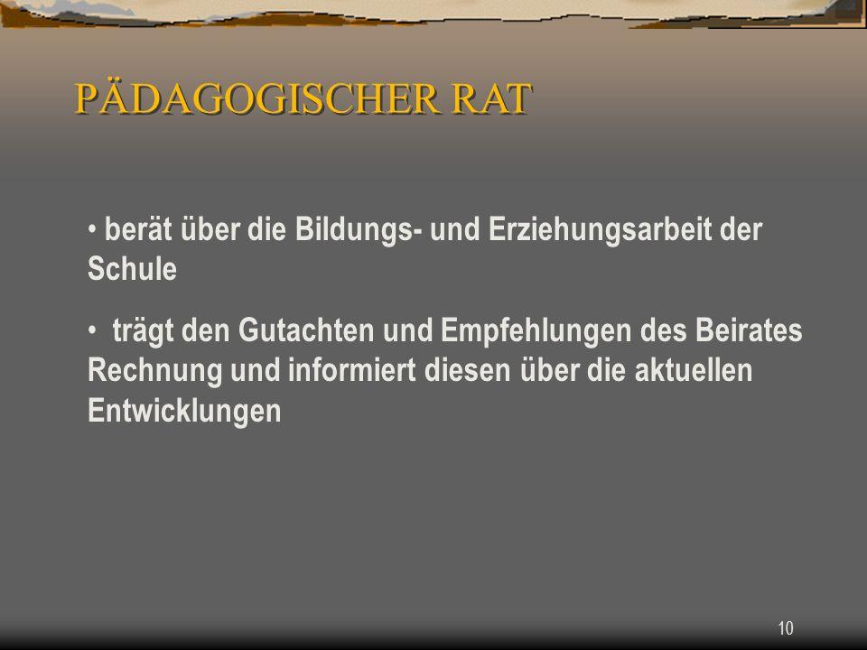 PÄDAGOGISCHER RAT berät über die Bildungs- und Erziehungsarbeit der Schule.