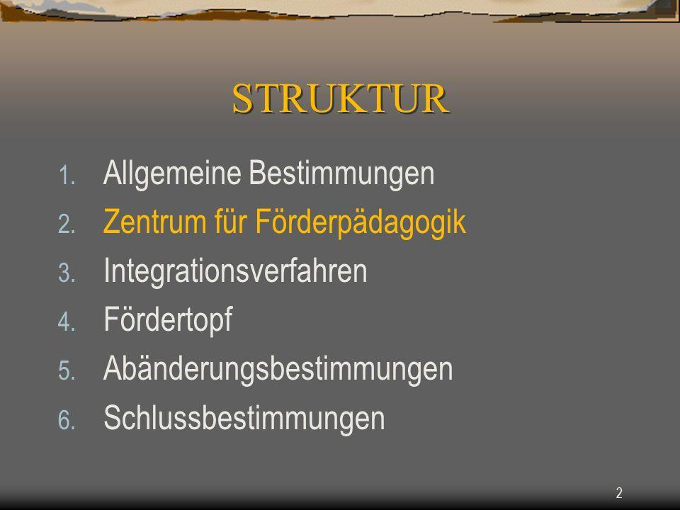 STRUKTUR Allgemeine Bestimmungen Zentrum für Förderpädagogik
