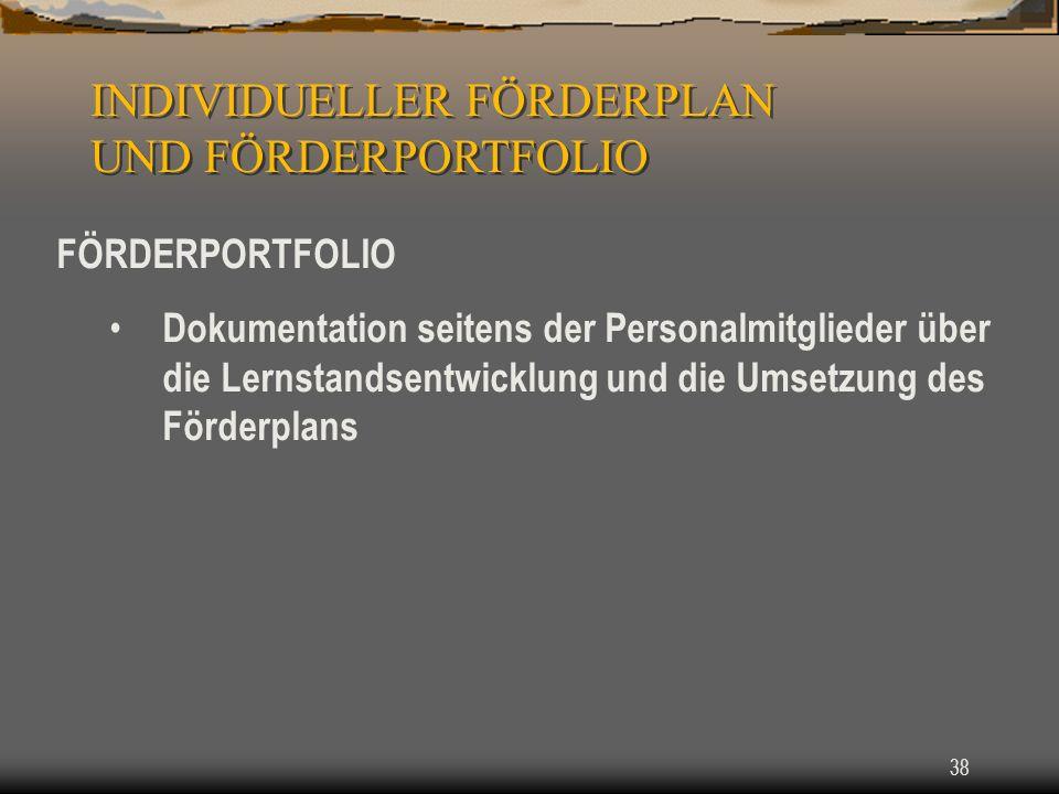 INDIVIDUELLER FÖRDERPLAN UND FÖRDERPORTFOLIO