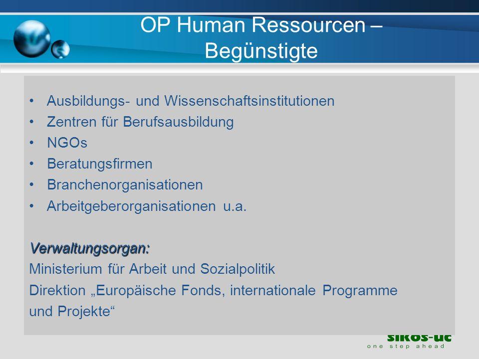 OP Human Ressourcen – Begünstigte