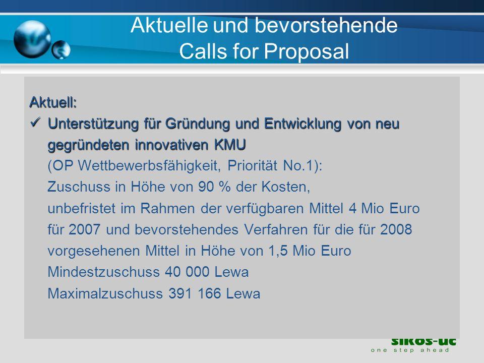 Aktuelle und bevorstehende Calls for Proposal
