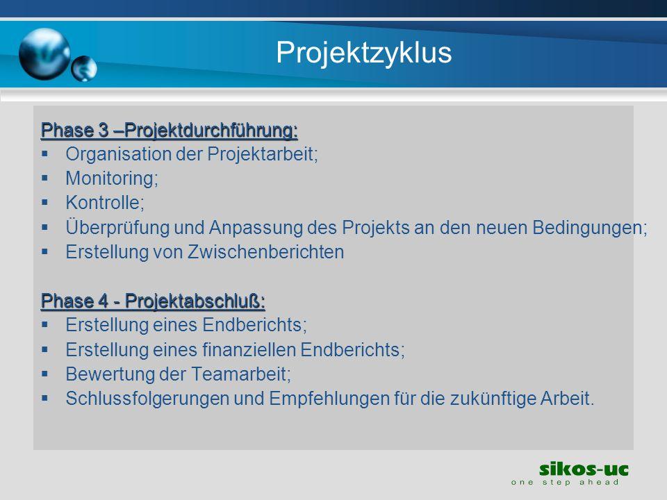 Projektzyklus Phase 3 –Projektdurchführung: