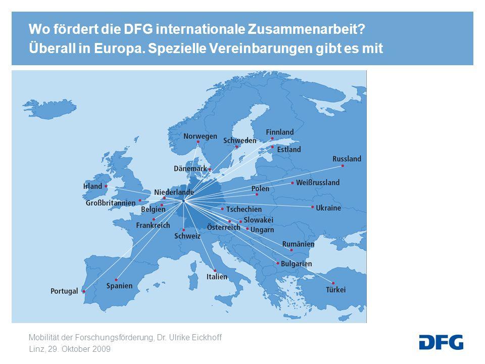 Wo fördert die DFG internationale Zusammenarbeit. Überall in Europa