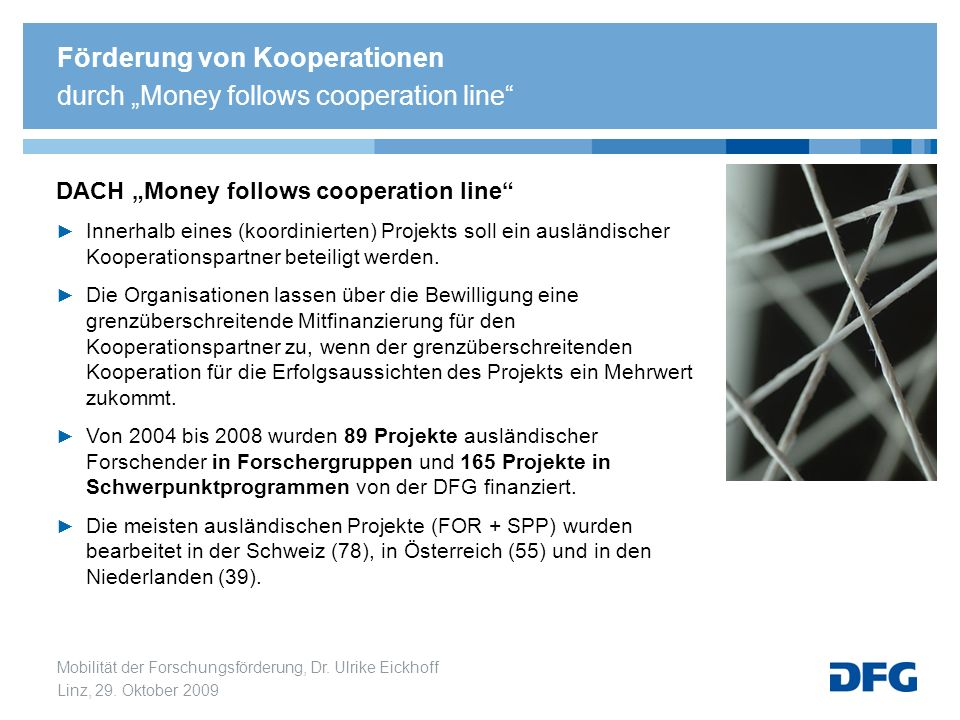 "Förderung von Kooperationen durch ""Money follows cooperation line"