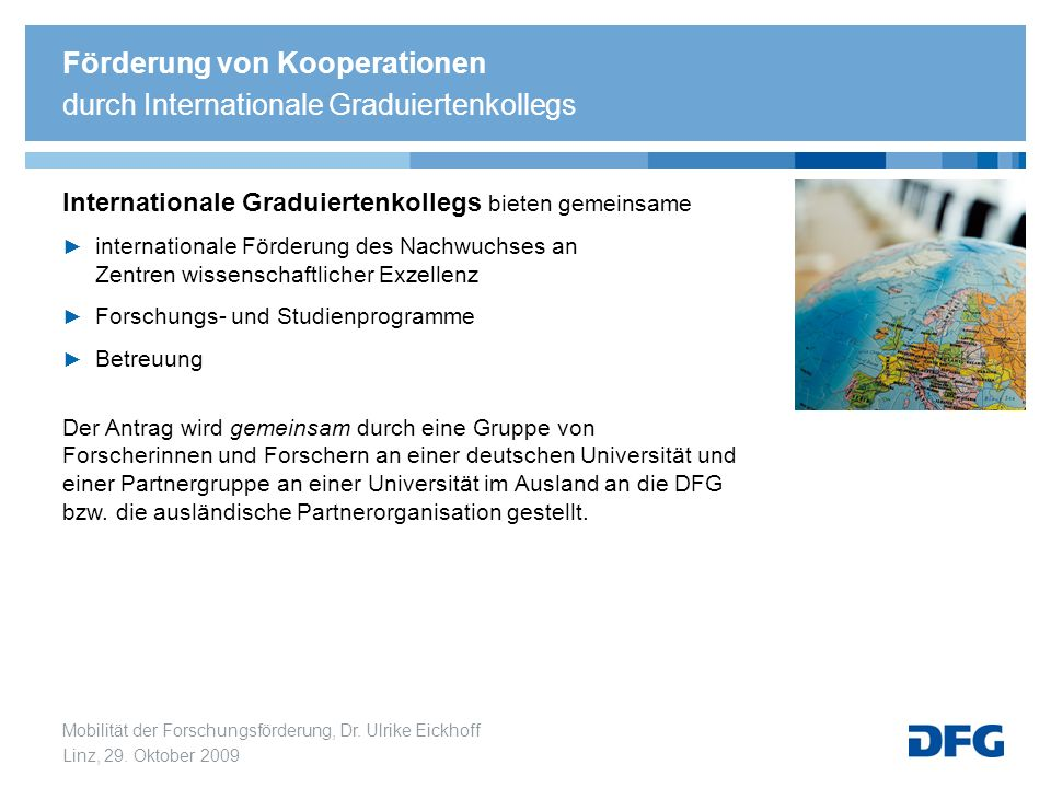 Förderung von Kooperationen durch Internationale Graduiertenkollegs