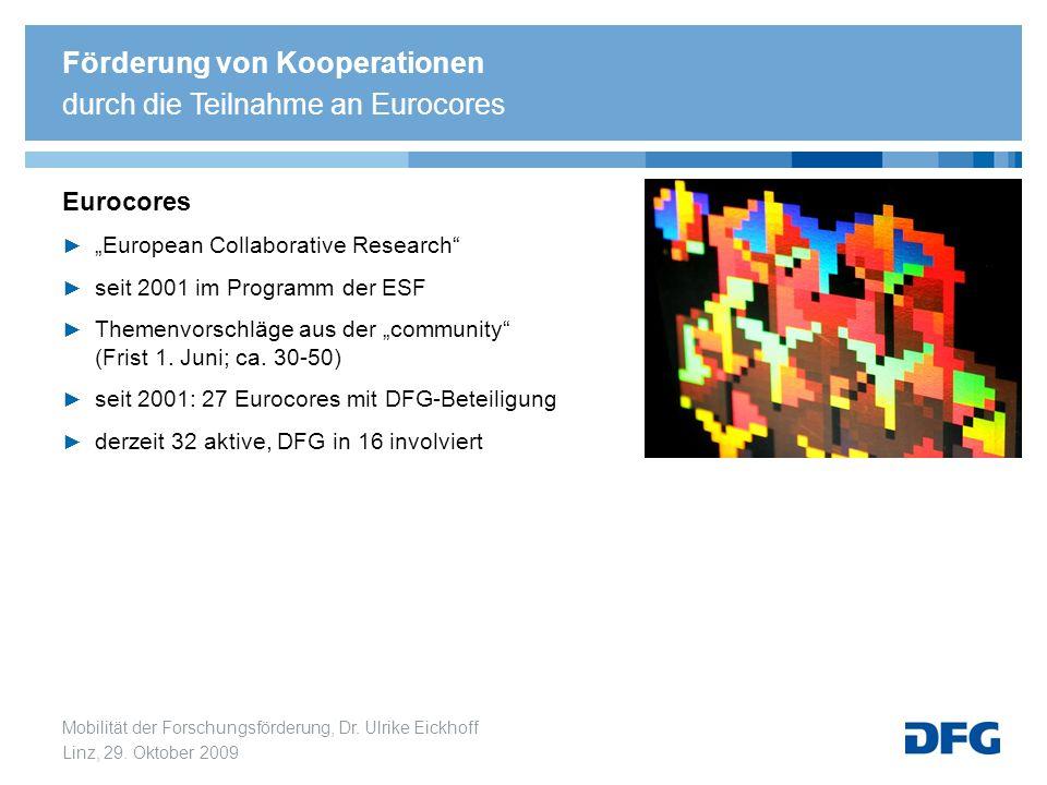 Förderung von Kooperationen durch die Teilnahme an Eurocores