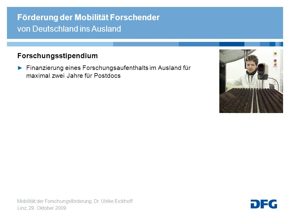 Förderung der Mobilität Forschender von Deutschland ins Ausland