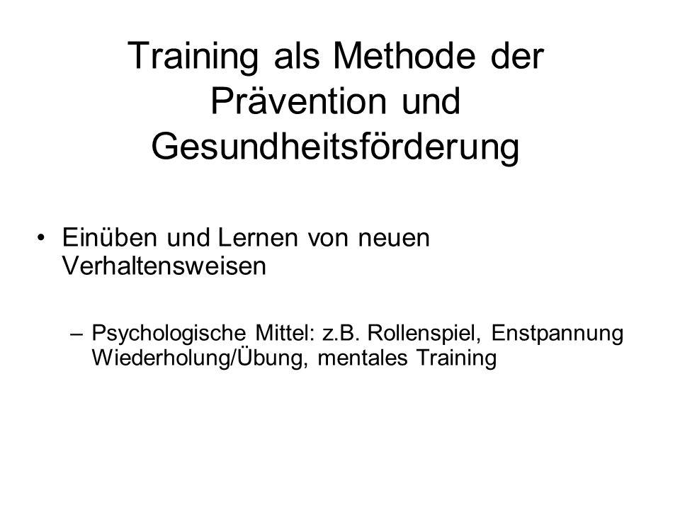 Training als Methode der Prävention und Gesundheitsförderung