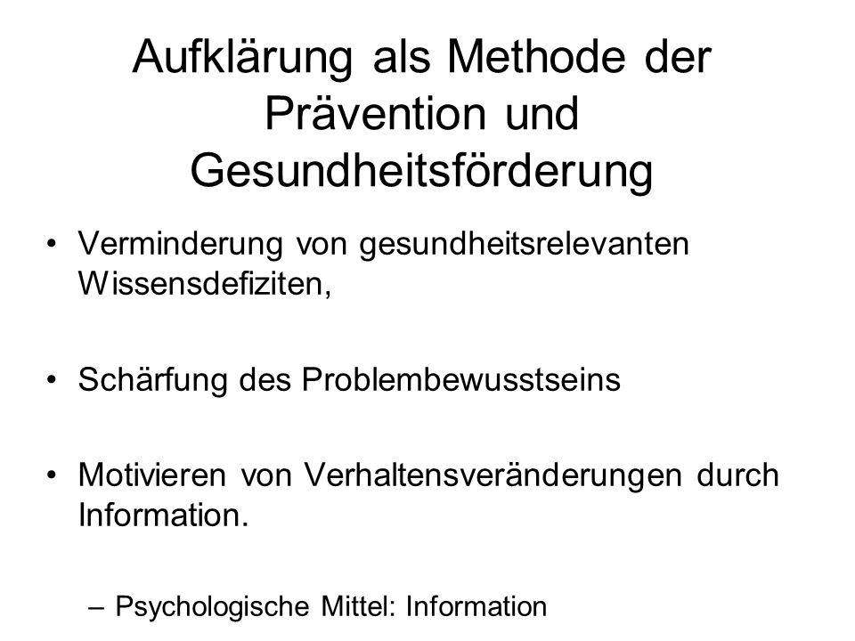 Aufklärung als Methode der Prävention und Gesundheitsförderung