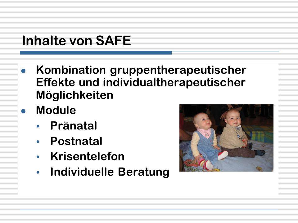 Inhalte von SAFE Kombination gruppentherapeutischer Effekte und individualtherapeutischer Möglichkeiten.