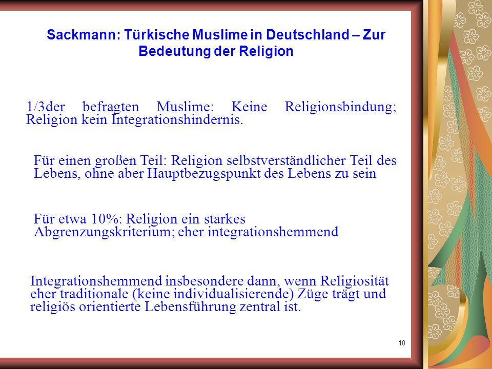 Sackmann: Türkische Muslime in Deutschland – Zur Bedeutung der Religion