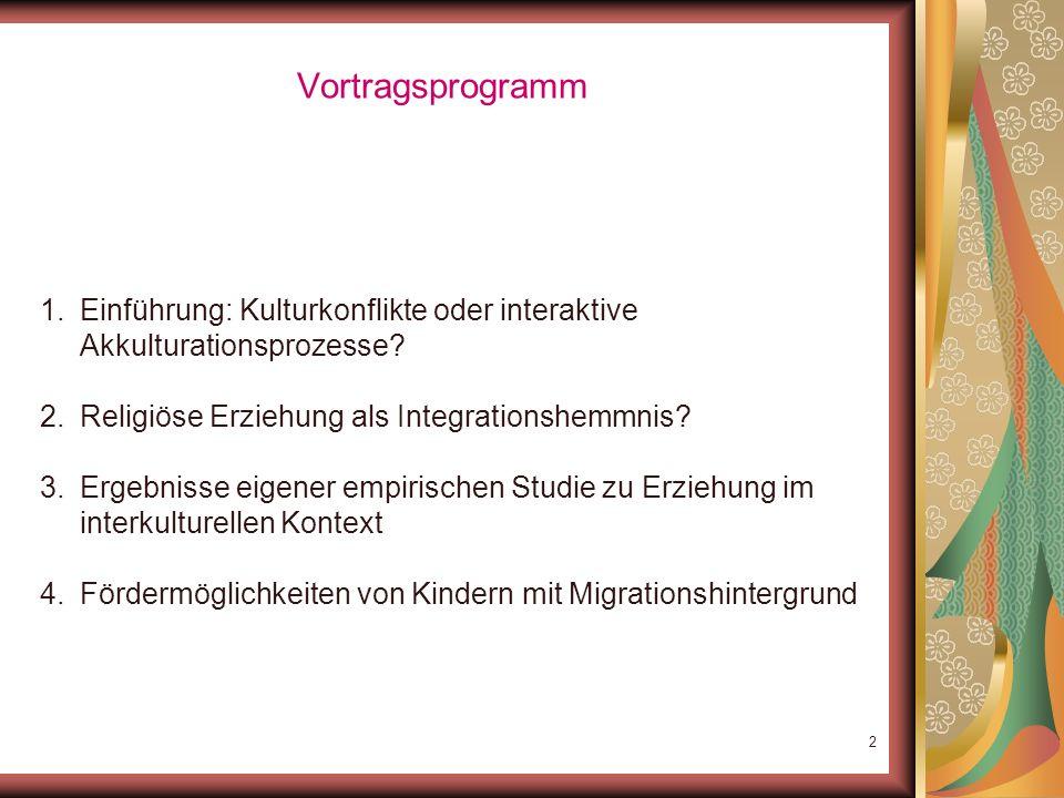 Vortragsprogramm Einführung: Kulturkonflikte oder interaktive Akkulturationsprozesse Religiöse Erziehung als Integrationshemmnis