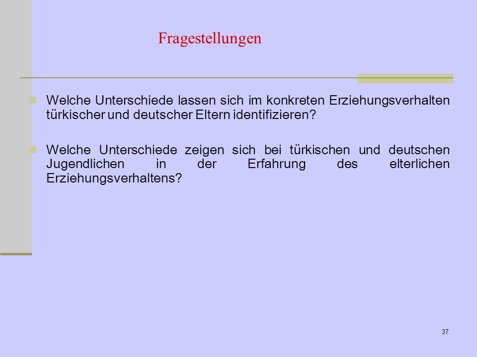 Fragestellungen Welche Unterschiede lassen sich im konkreten Erziehungsverhalten türkischer und deutscher Eltern identifizieren
