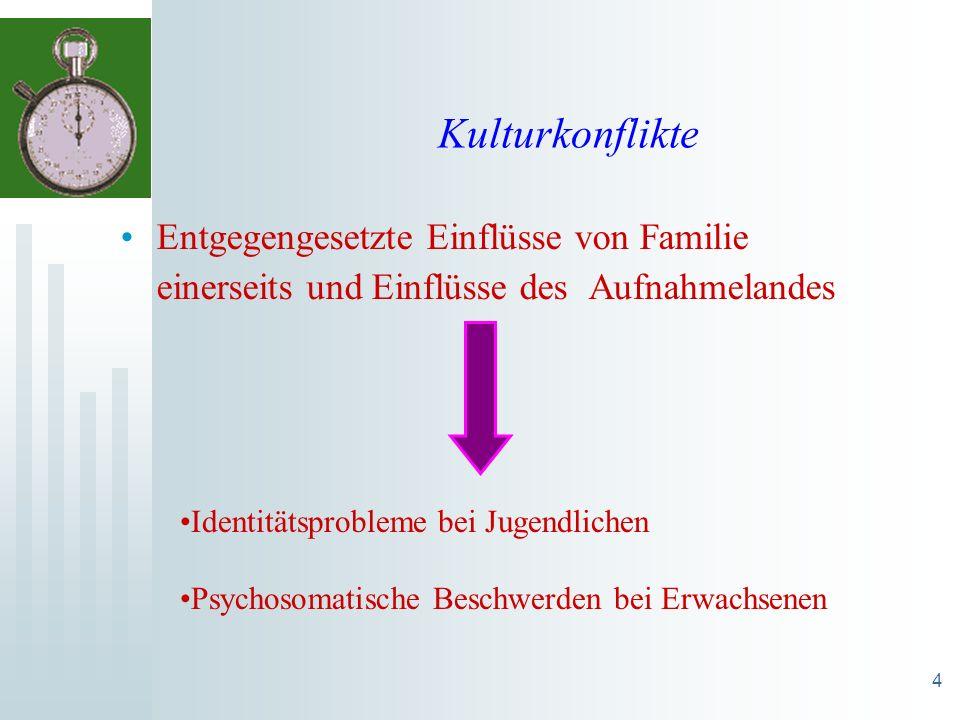 Kulturkonflikte Entgegengesetzte Einflüsse von Familie einerseits und Einflüsse des Aufnahmelandes.