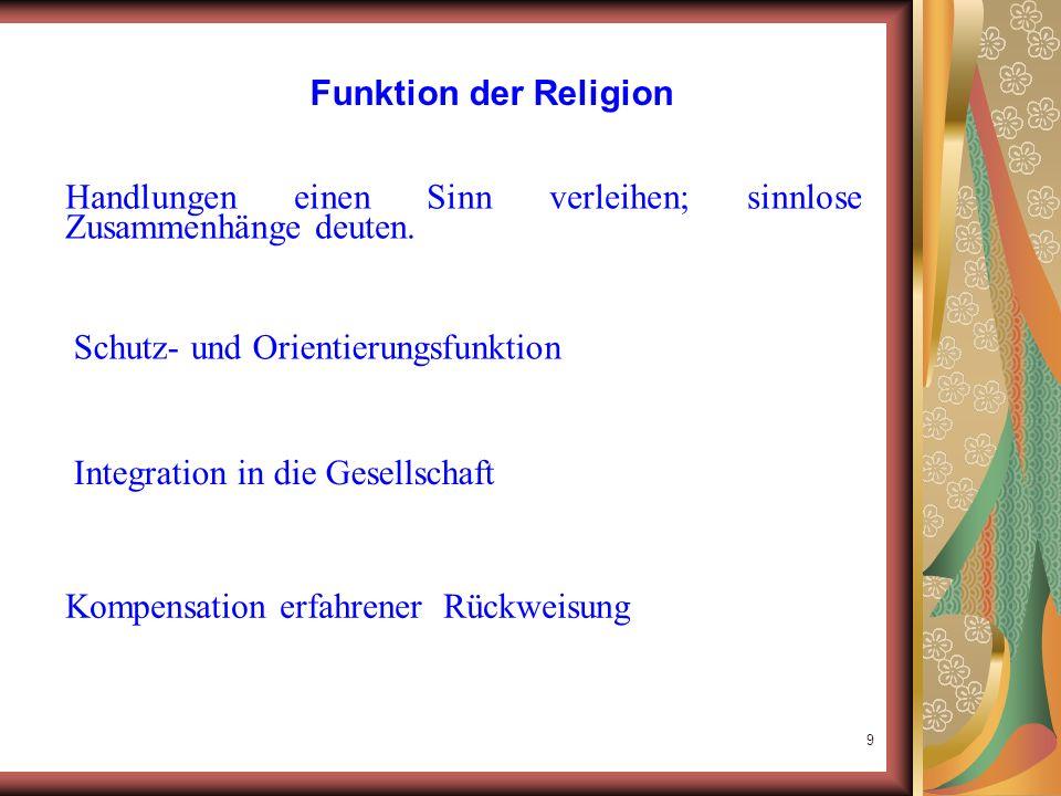 Funktion der Religion Handlungen einen Sinn verleihen; sinnlose Zusammenhänge deuten. Schutz- und Orientierungsfunktion.