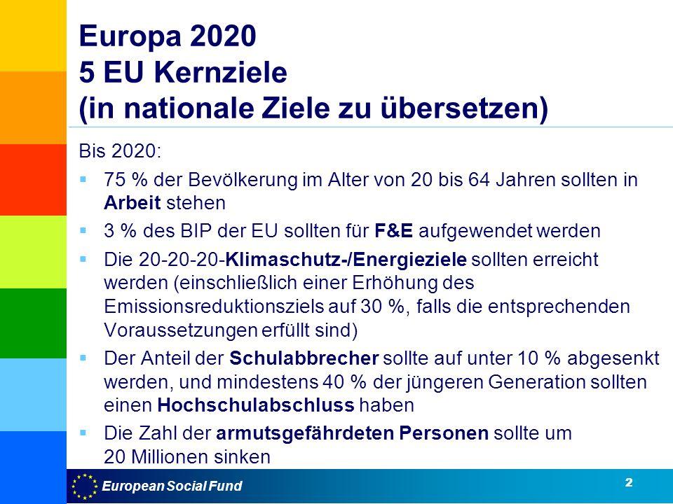 Europa 2020 5 EU Kernziele (in nationale Ziele zu übersetzen)
