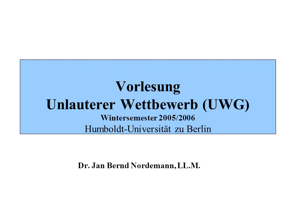 Dr. Jan Bernd Nordemann, LL.M.