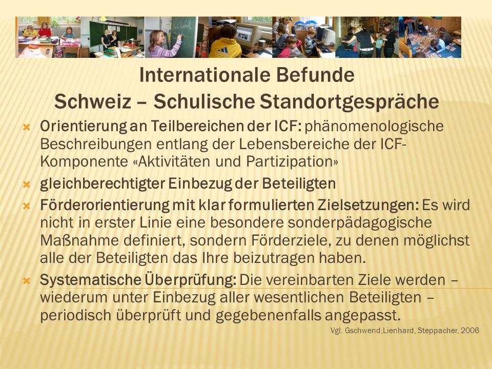 Internationale Befunde Schweiz – Schulische Standortgespräche