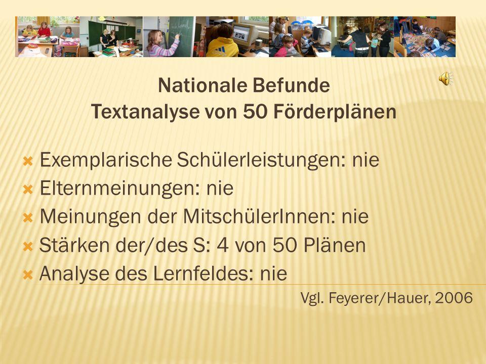 Nationale Befunde Textanalyse von 50 Förderplänen