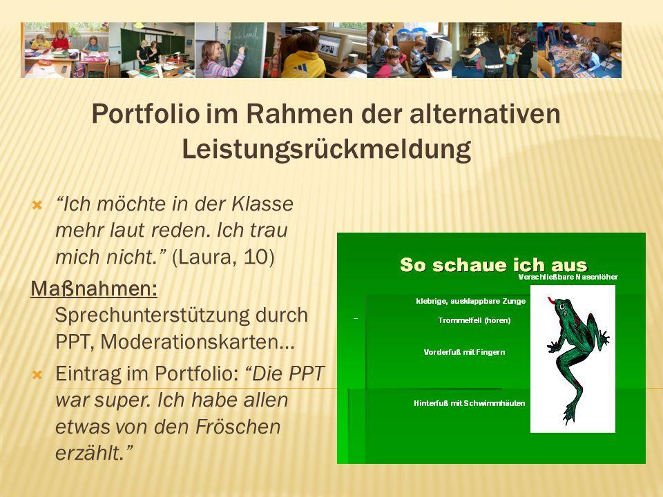 Portfolio im Rahmen der alternativen Leistungsrückmeldung