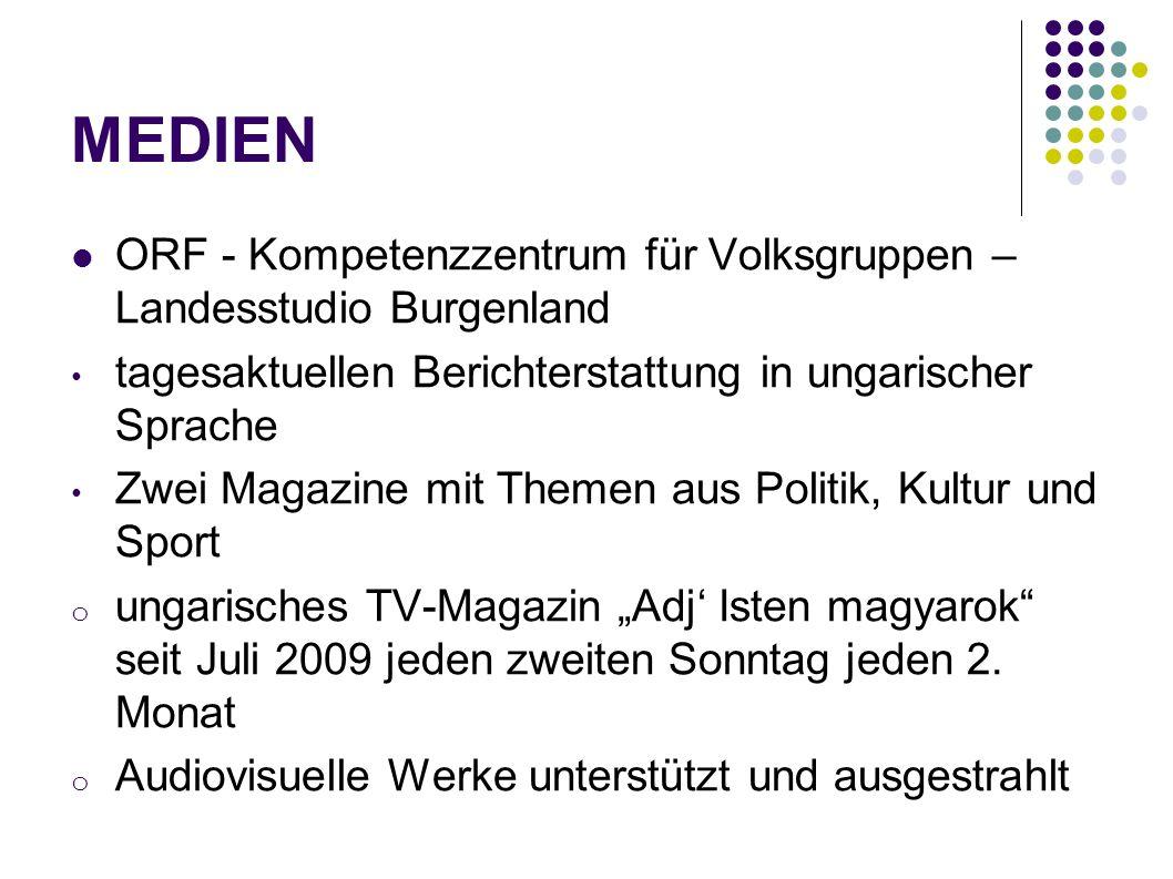 MEDIEN ORF - Kompetenzzentrum für Volksgruppen – Landesstudio Burgenland. tagesaktuellen Berichterstattung in ungarischer Sprache.