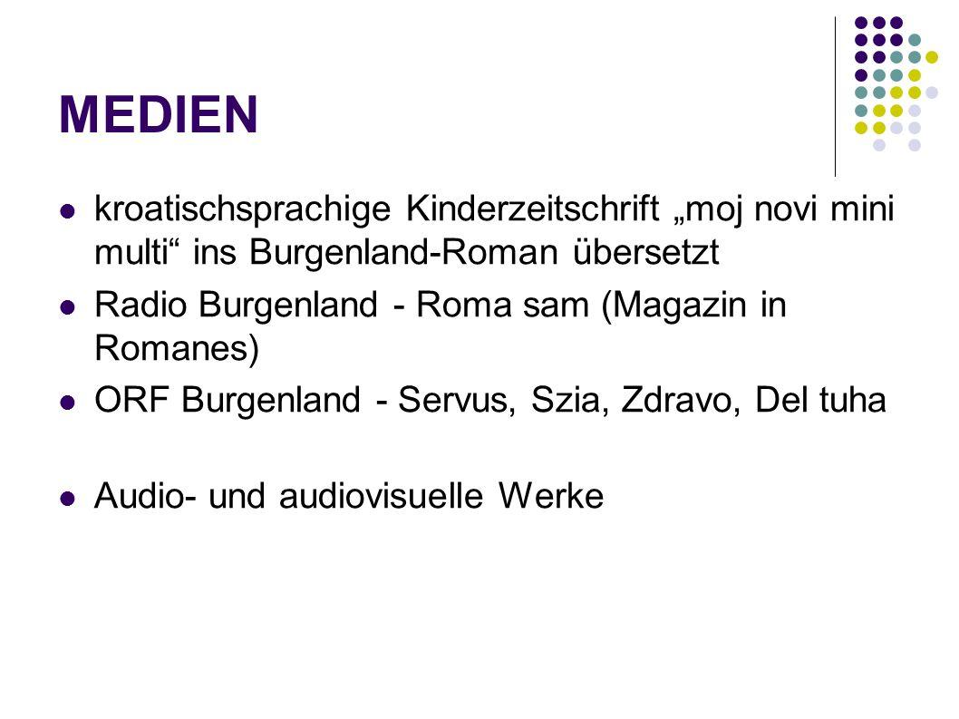 """MEDIEN kroatischsprachige Kinderzeitschrift """"moj novi mini multi ins Burgenland-Roman übersetzt. Radio Burgenland - Roma sam (Magazin in Romanes)"""