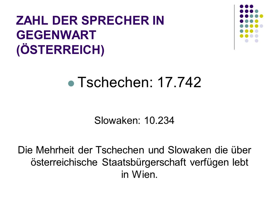 ZAHL DER SPRECHER IN GEGENWART (ÖSTERREICH)