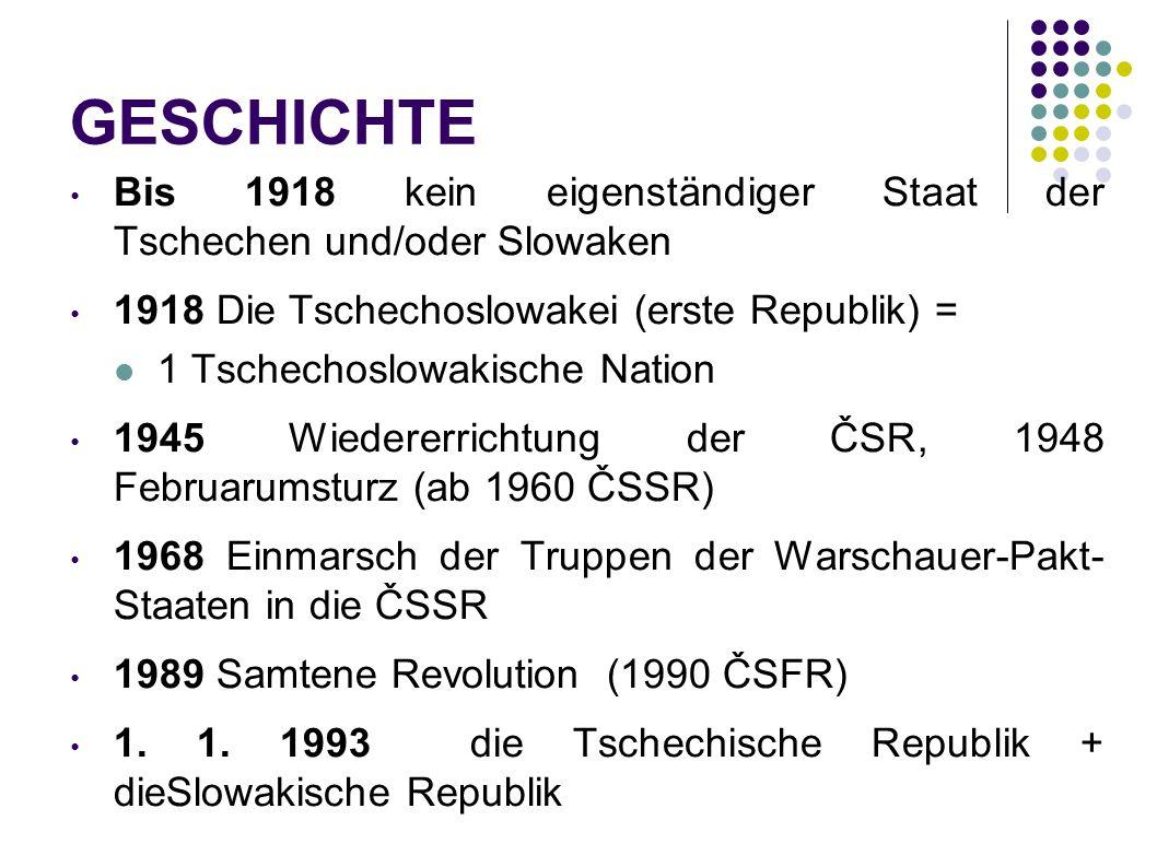 GESCHICHTE Bis 1918 kein eigenständiger Staat der Tschechen und/oder Slowaken.