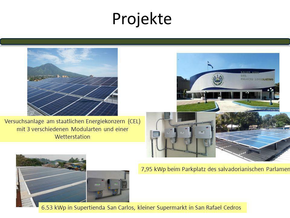 Projekte Versuchsanlage am staatlichen Energiekonzern (CEL) mit 3 verschiedenen Modularten und einer Wetterstation.