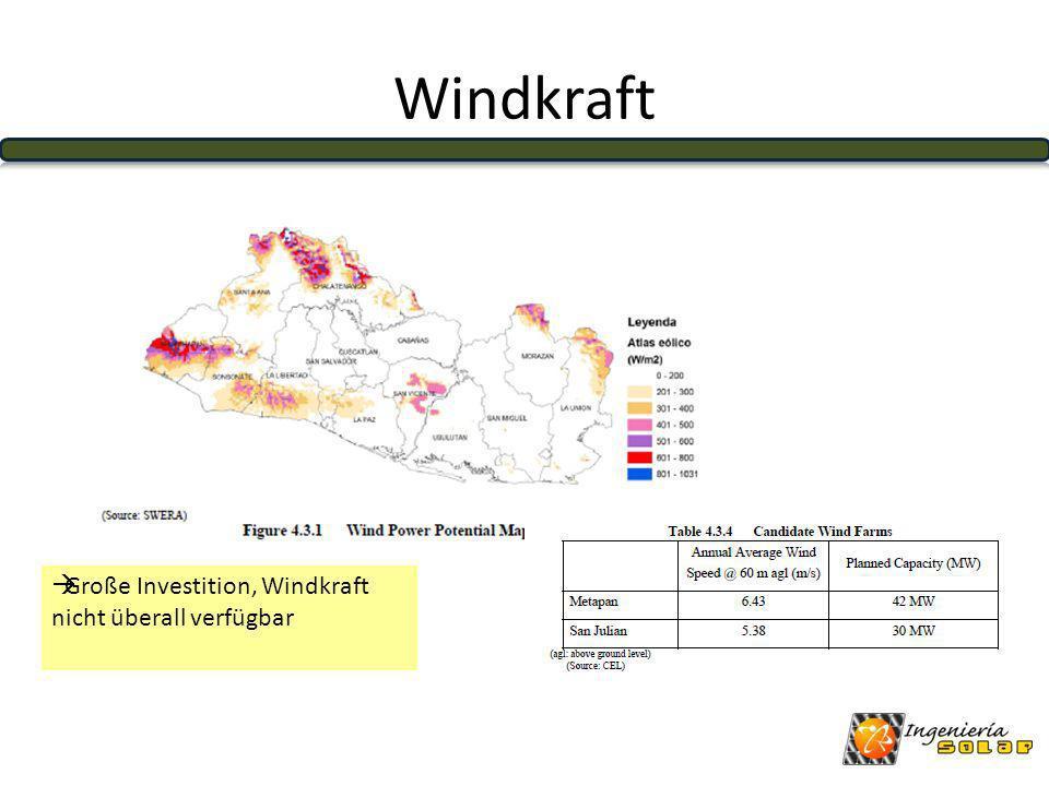 Windkraft Große Investition, Windkraft nicht überall verfügbar