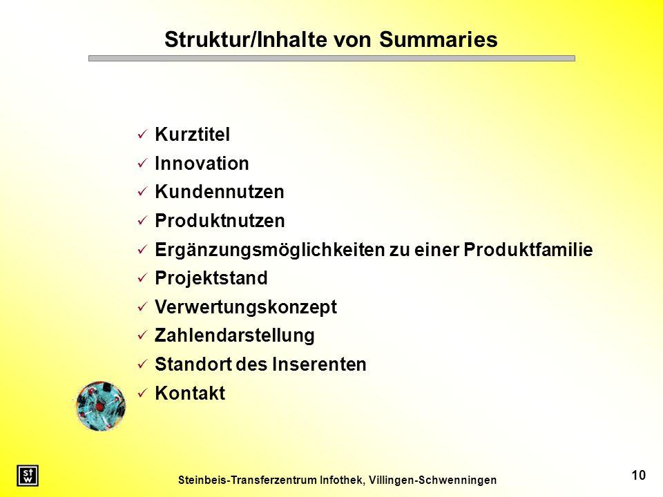 Struktur/Inhalte von Summaries