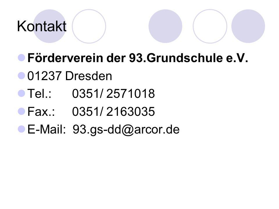 Kontakt Förderverein der 93.Grundschule e.V. 01237 Dresden