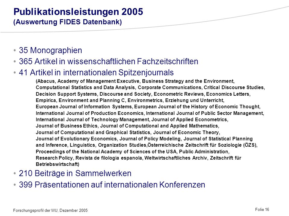 Publikationsleistungen 2005 (Auswertung FIDES Datenbank)