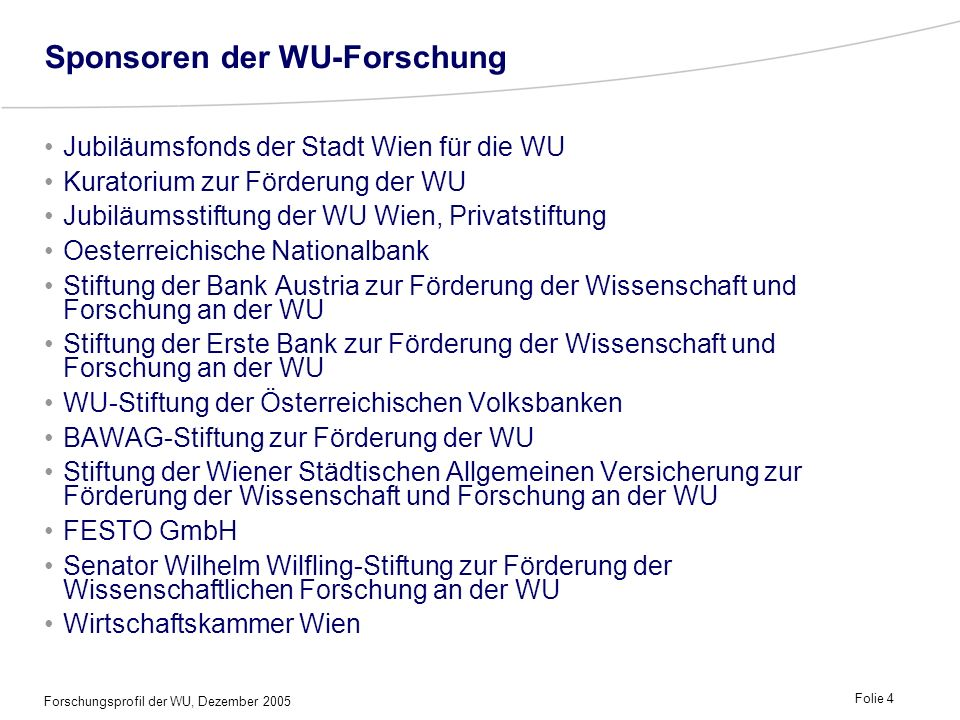 Sponsoren der WU-Forschung