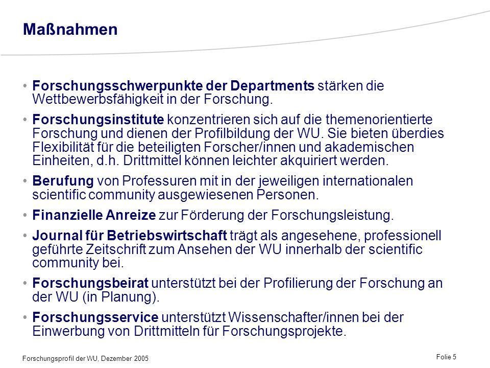 Maßnahmen Forschungsschwerpunkte der Departments stärken die Wettbewerbsfähigkeit in der Forschung.