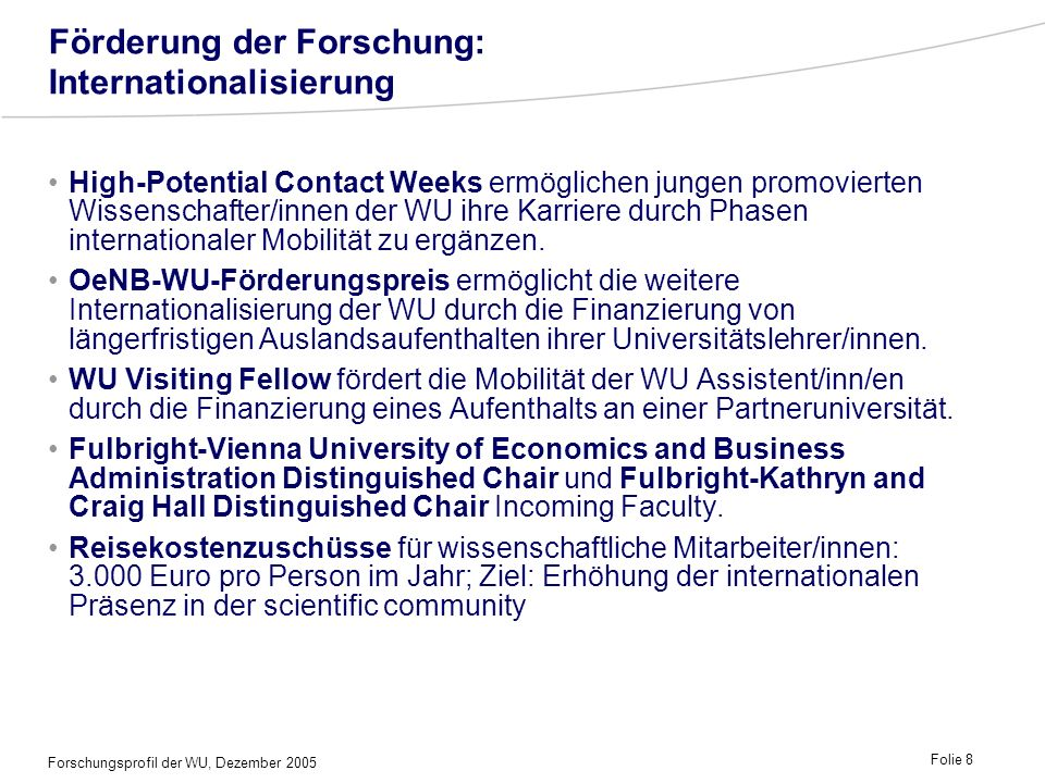 Förderung der Forschung: Internationalisierung