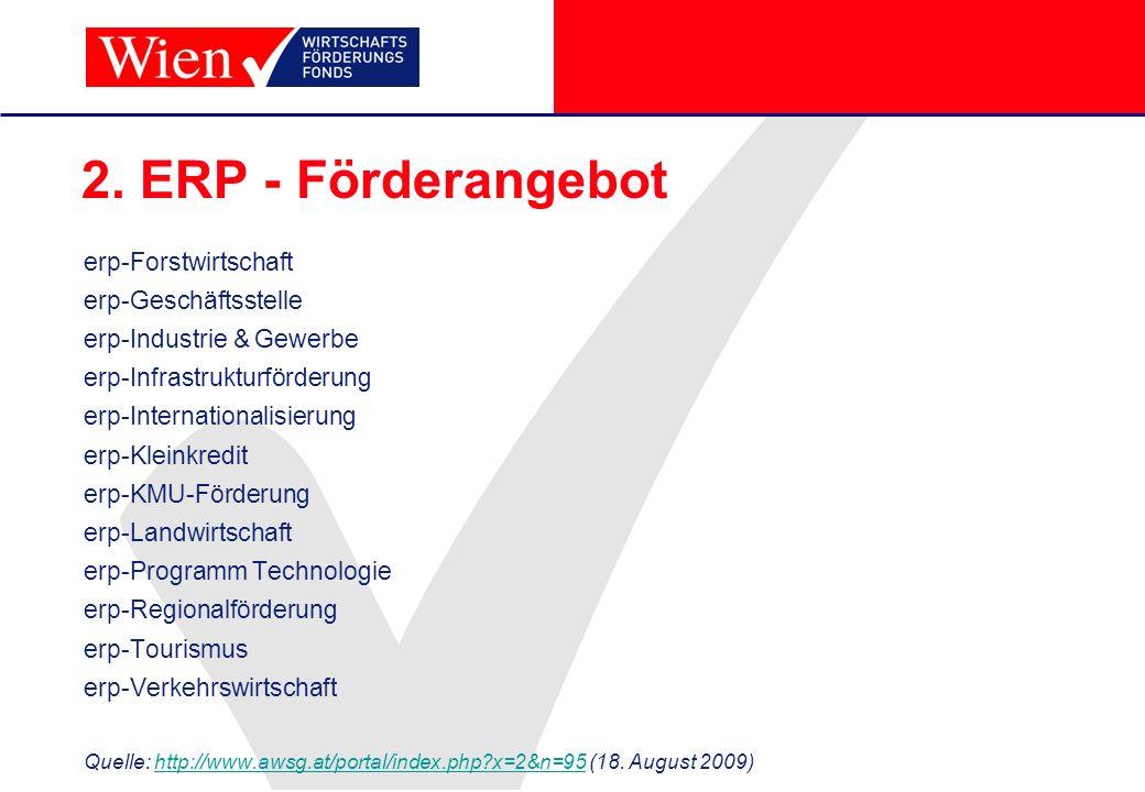 2. ERP - Förderangebot erp-Forstwirtschaft erp-Geschäftsstelle