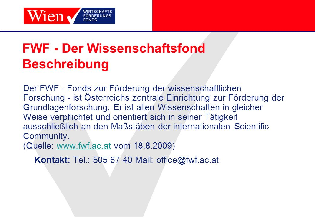 FWF - Der Wissenschaftsfond Beschreibung