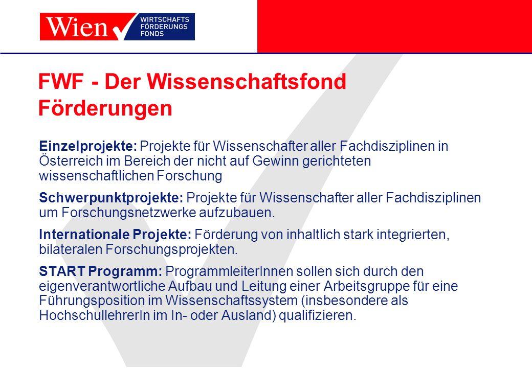 FWF - Der Wissenschaftsfond Förderungen