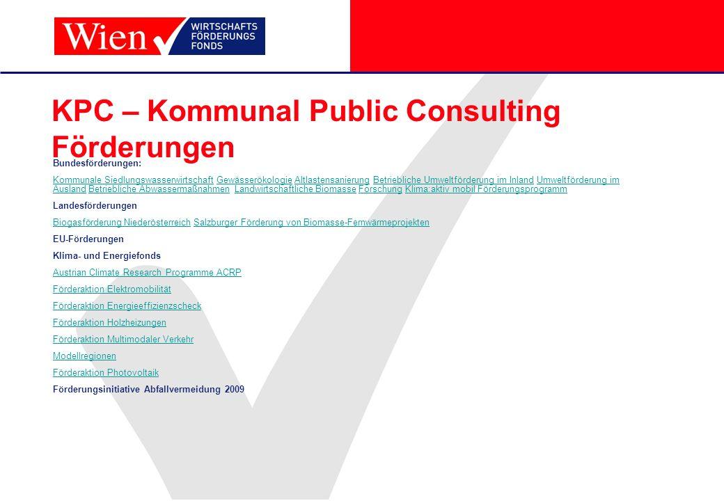 KPC – Kommunal Public Consulting Förderungen