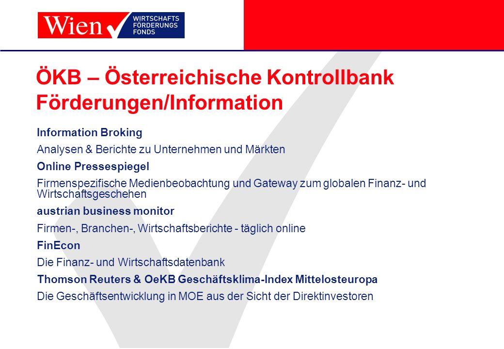 ÖKB – Österreichische Kontrollbank Förderungen/Information
