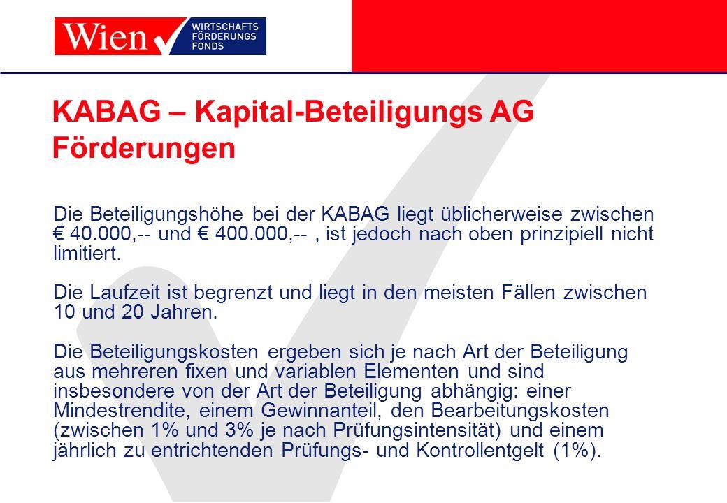KABAG – Kapital-Beteiligungs AG Förderungen