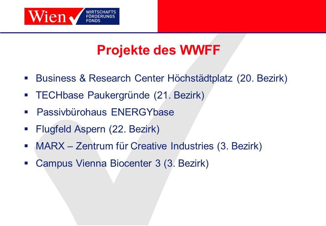 Projekte des WWFF Business & Research Center Höchstädtplatz (20. Bezirk) TECHbase Paukergründe (21. Bezirk)