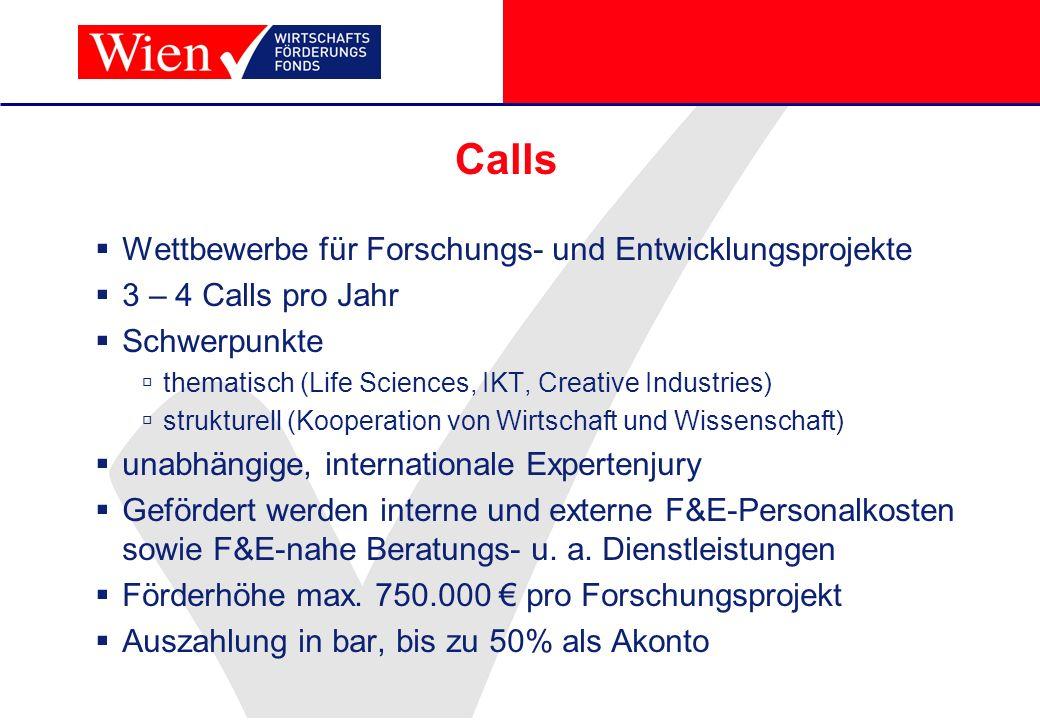 Calls Wettbewerbe für Forschungs- und Entwicklungsprojekte