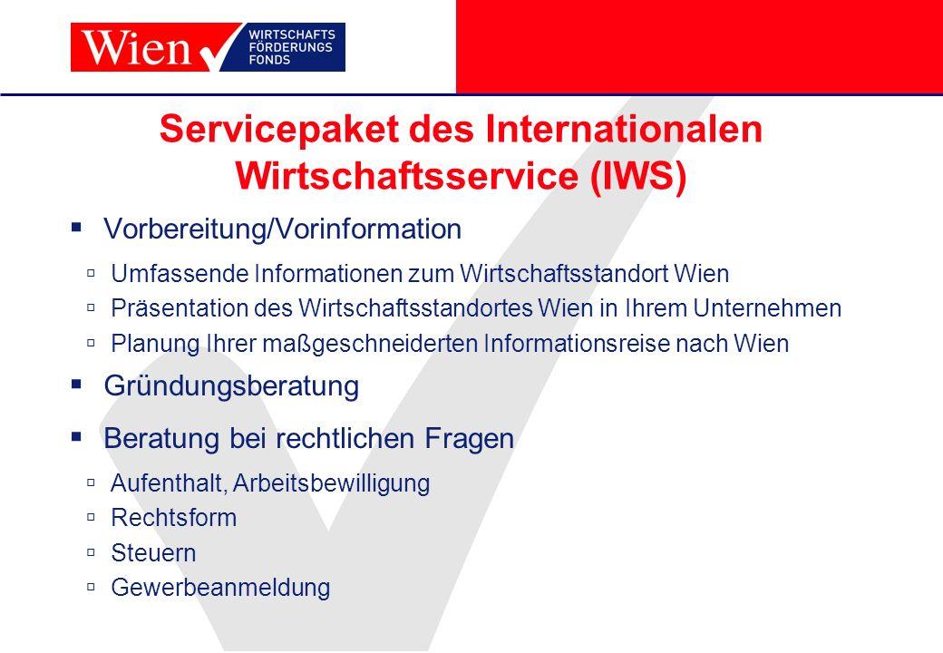 Servicepaket des Internationalen Wirtschaftsservice (IWS)