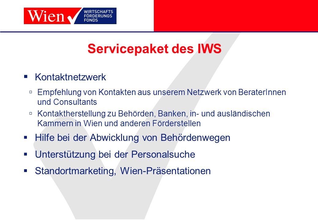 Servicepaket des IWS Kontaktnetzwerk