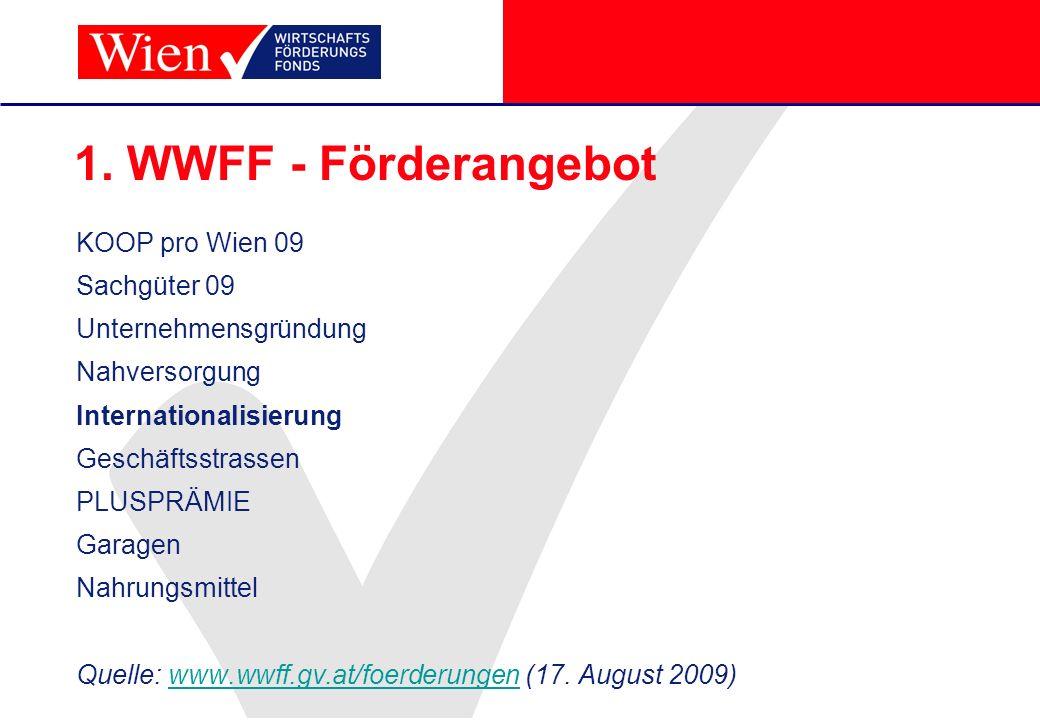 1. WWFF - Förderangebot KOOP pro Wien 09 Sachgüter 09