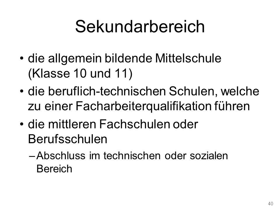 Sekundarbereich die allgemein bildende Mittelschule (Klasse 10 und 11)